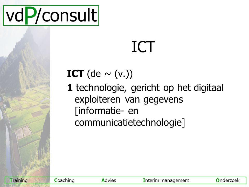 ICT ICT (de ~ (v.)) 1 technologie, gericht op het digitaal exploiteren van gegevens [informatie- en communicatietechnologie]